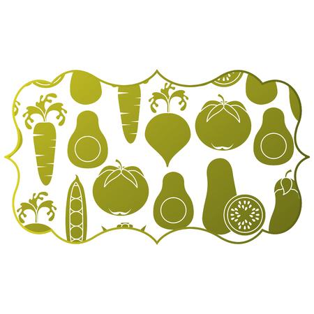 frame with vegetables pattern background vector illustration design