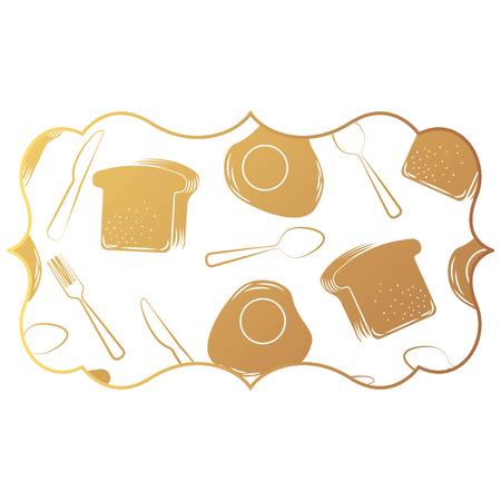 Frame met eieren en bestekpatroon achtergrond vectorillustratieontwerp Stockfoto - 92513005