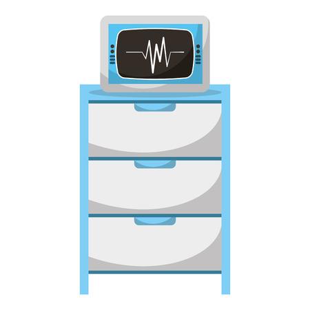 Hospital operating drawer with ekg machine illustration design. Ilustrace