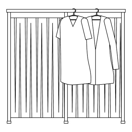 Doctor and patient coats hanging icon illustration design. Illustration