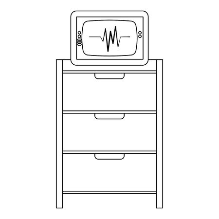 hospital operating drawer with ekg machine vector illustration design