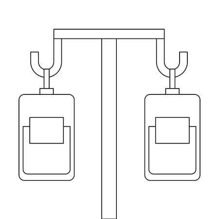 Medicine and blood bags hanging vector illustration design.