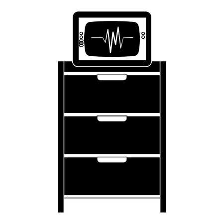 Hospital operating drawer with electrocardiogram machine illustration design Ilustrace