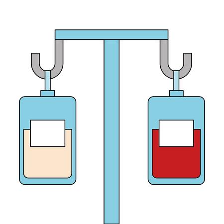 Medicine and blood bags hanging vector illustration design
