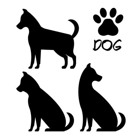 cute dog silhouette icons vector illustration design Illustration