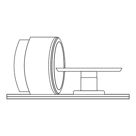 Tomography scanner machine icon in thin line illustration design Ilustração