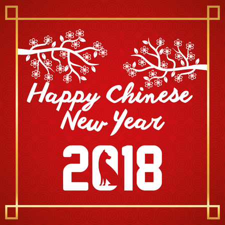 happy chinese new year 2018 poster vector illustration design Illustration
