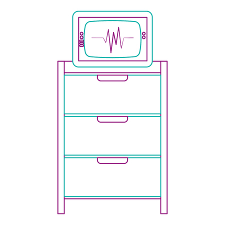 Hospital operating drawer with electrocardiogram machine vector illustration design. Ilustracja