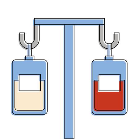 medicine and blood bags hanging vector illustration design Illustration