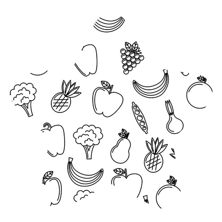 vegetables and fruits fresh food seamless pattern vector illustration  イラスト・ベクター素材