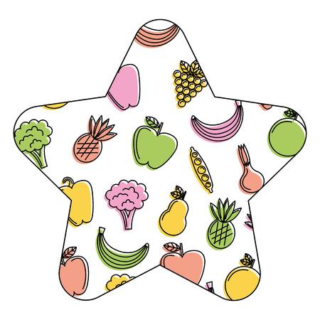 vegetables and fruits fresh food seamless pattern vector illustration Illusztráció