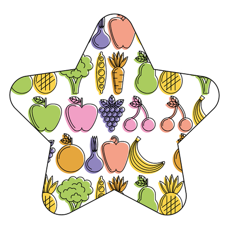 Vegetables and fruits fresh food seamless pattern  illustration.