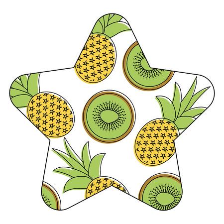 Seamless pattern fruit pineapple and kiwi fresh illustration. 向量圖像