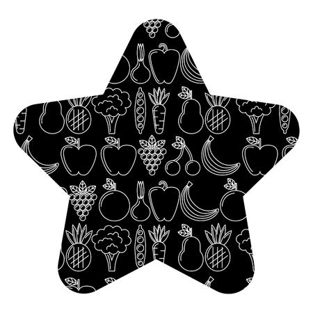 星のイラストで野菜や果物新鮮な食品シームレスなパターン