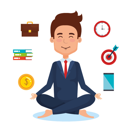 business people meditation lifestyle with business elements illustration design Illusztráció