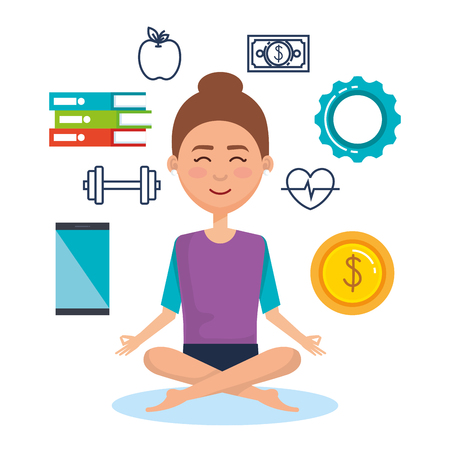business people meditation lifestyle with business elements illustration design Ilustracja