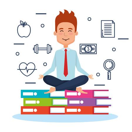 Estilo de vida de meditación de personas de negocios con diseño de ilustración de elementos de negocio Foto de archivo - 92514277