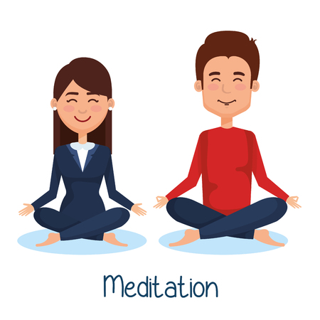 business people meditation lifestyle vector illustration design Illustration