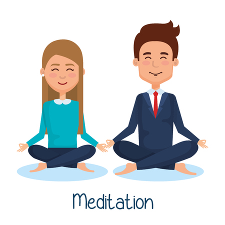 business people meditation lifestyle vector illustration design Çizim