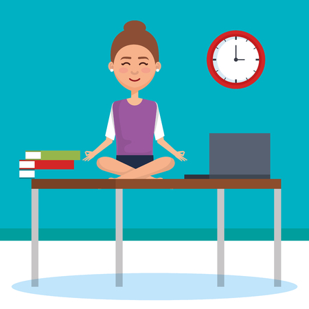 business people meditation lifestyle in workplace vector illustration design Ilustração