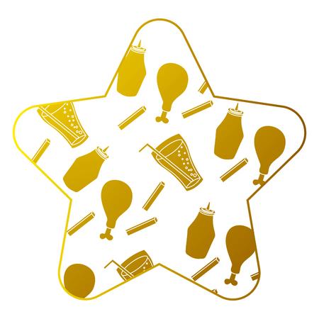 frame with fast food pattern background vector illustration design