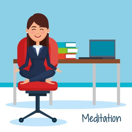 business people meditation lifestyle in workplace vector illustration design Illusztráció