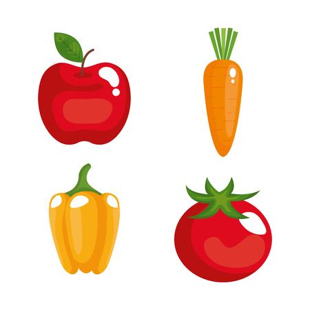 Gezond vector de illustratieontwerp van voedsel vastgesteld pictogrammen Stock Illustratie