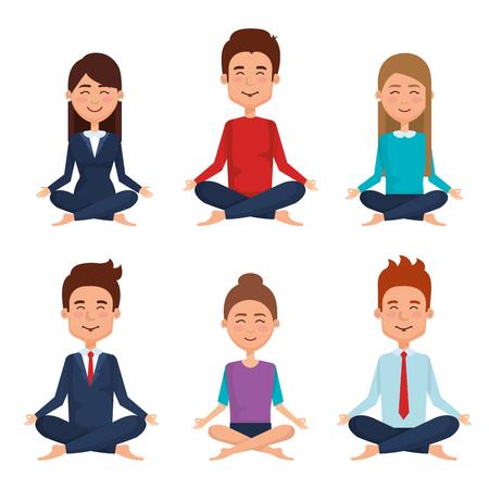 Business people meditation lifestyle vector illustration design Illustration