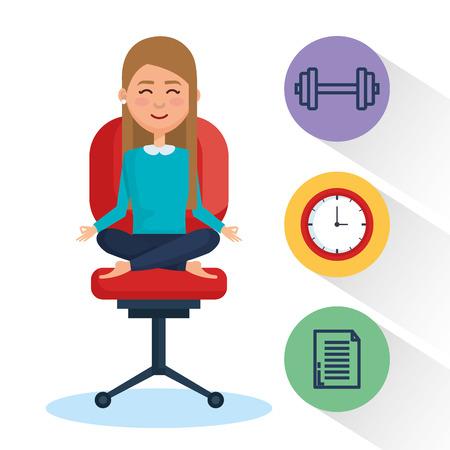 ビジネス要素イラストデザインでビジネスの人瞑想ライフスタイル