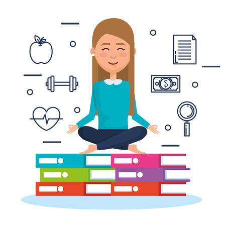 business people meditation lifestyle with business elements illustration design Ilustração