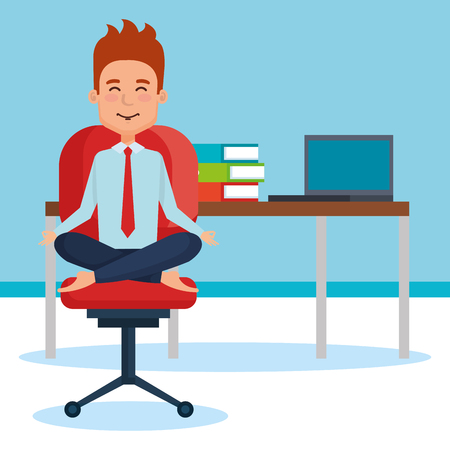 business people meditation lifestyle in workplace vector illustration design Illustration
