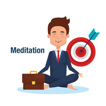 business people meditation lifestyle with business elements illustration design Illustration