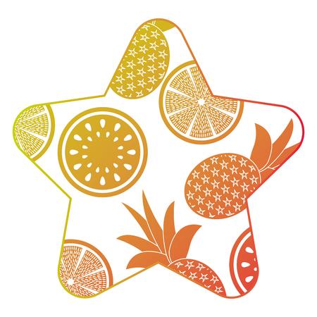 frame with fruits pattern vector illustration design