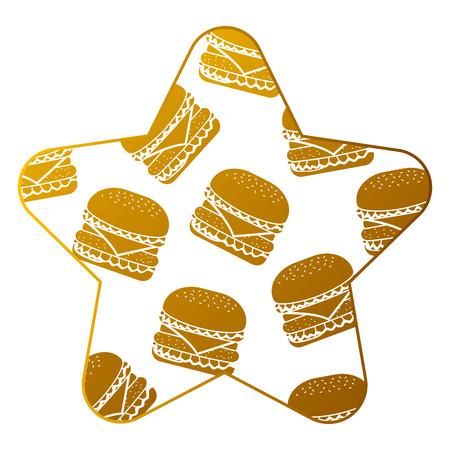 Star frame with hamburgers pattern background vector illustration design