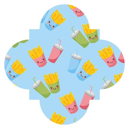 Frame with fast food pattern background vector illustration design Illustration