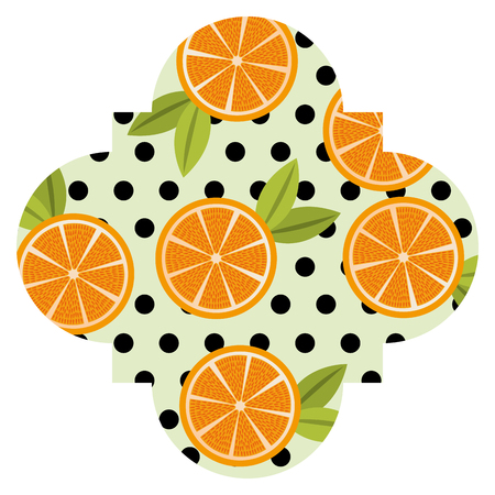 Frame with oranges pattern background vector illustration design. Иллюстрация