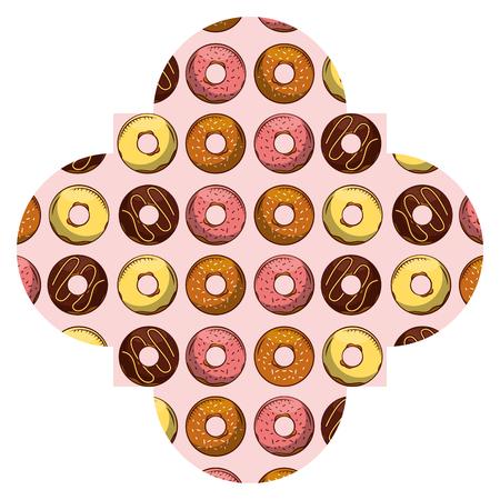 Frame with donuts pattern background illustration design.