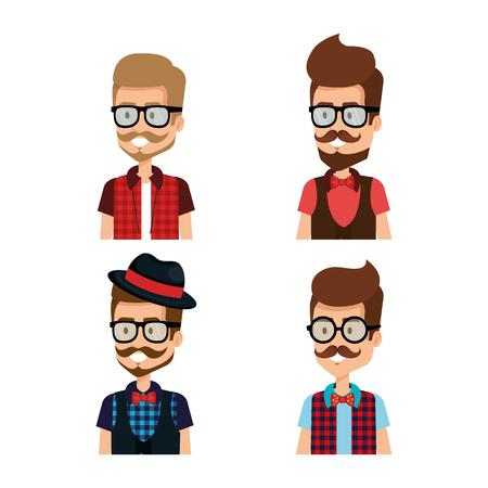 Hipster style group of avatars vector illustration design Illustration