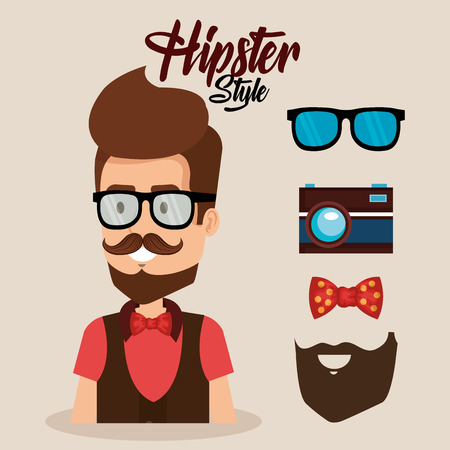 Hipster style avatar with accessories vector illustration design Banco de Imagens - 92515040