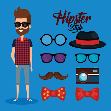 hipster style avatar with accessories vector illustration design  イラスト・ベクター素材