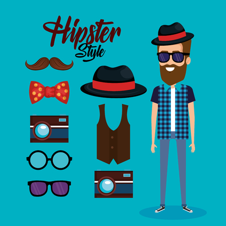 Hipster style avatar with accessories illustration design.