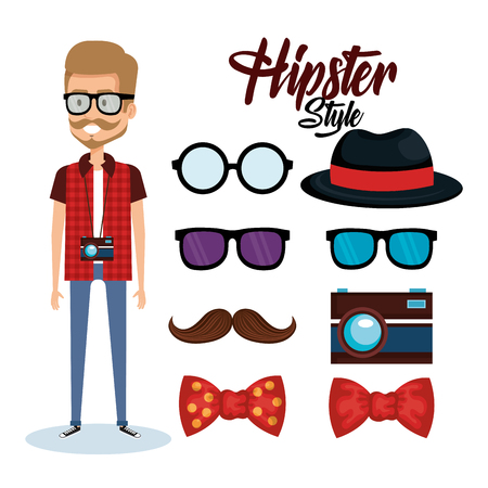 Hipster style avatar with accessories vector illustration design Ilustração
