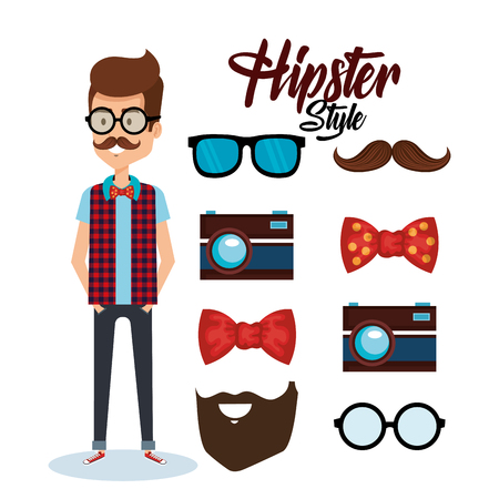 Hipster style avatar with accessories vector illustration design Illustration