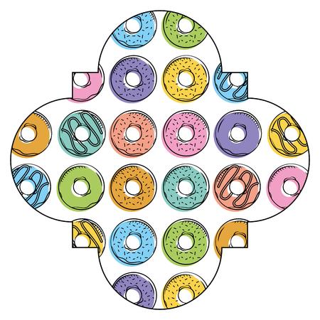 Frame with donuts pattern background vector illustration design Illusztráció