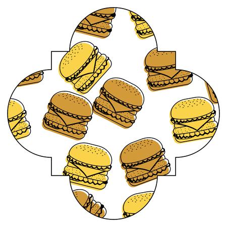 Frame with hamburgers pattern background illustration design.