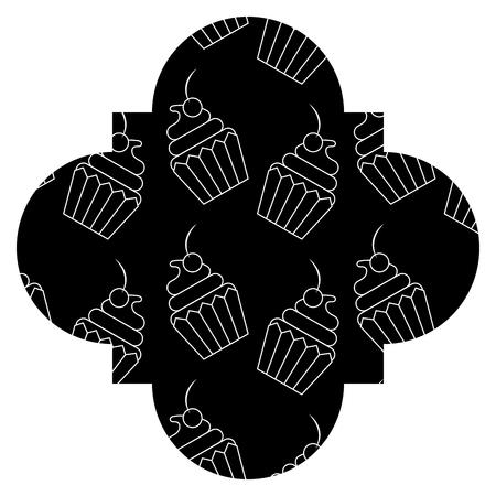 Frame with cupcake pattern background vector illustration design