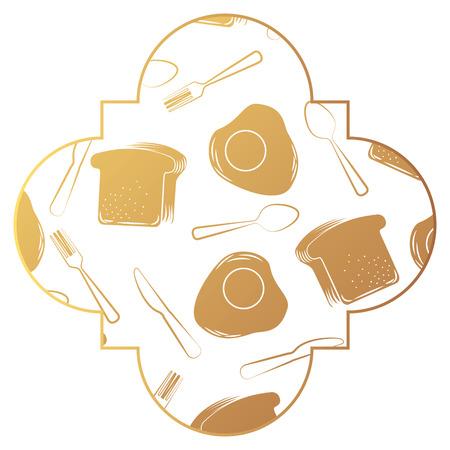 Kader met eieren en van het bestekpatroon vectorillustratieontwerp als achtergrond
