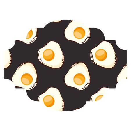 Frame with eggs pattern background vector illustration design Illustration