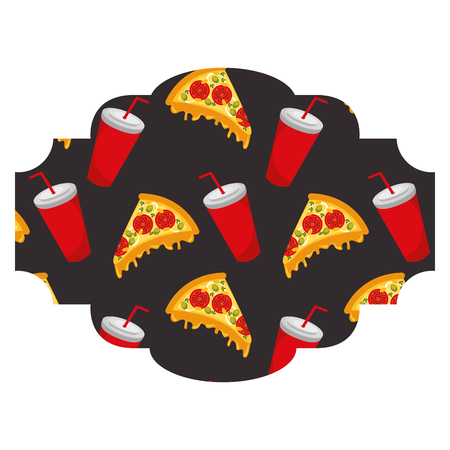 Frame with pizza and soda pattern background vector illustration design Illustration