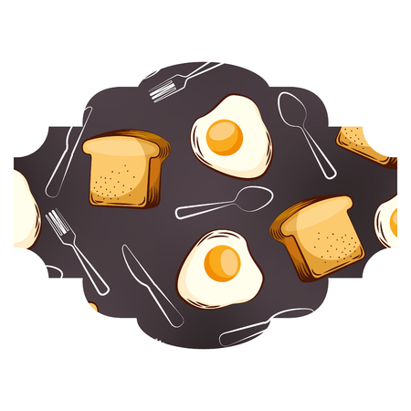 Frame with eggs and cutlery pattern background vector illustration design